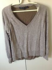 French Connection Women's Cotton Silk Knit Jumper Top Size S 8-10 Brown