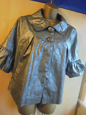 Lovely on PAPAYA Floral Metallic Silver Ladies X-mass party  Jacket Size 14 New