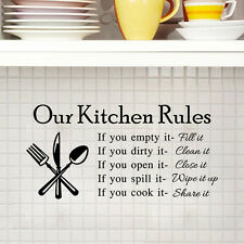 """""""Kitchen Rules"""" Mural Quote Removable Wall Stickers Art Decal Kitchen Home Decor"""