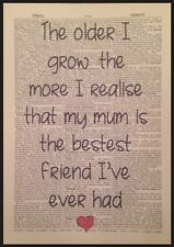 Mum Best Friend Quote Print Vintage Dictionary Page Wall Art Picture Gift Heart