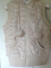 Ladies Nude Crushed Faux Fur Gilet size 12 NEW