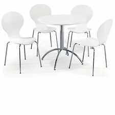 Dining Set Round White Table and 4 White Chairs Chrome Keeler Kitchen Cafe Style