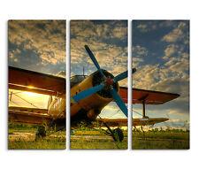3x90x40cm 3teilig Flugzeug Fliegen Vintage Himmel Wiese Leinwand Keilrahmen Bild