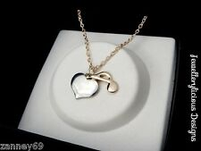 Beautiful Silver I Love Music Heart Note Rose Gold Quaver & Chain Necklace