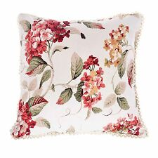 Cream and Red Chintz Floral Sofa Cushions Filled Scatter Cushion Square 18x18""