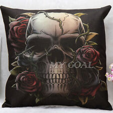 Indiana Gothic Style Rose Skull Cotton Linen Cushion Cover Bed Throw Pillow Case