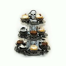 35.5cm Gothic Skull Halloween Party 3 Tier Cake Stand