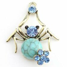 4x 143671 New Blue Rhinestones Turquoise Spider Bronze Alloy Jewelry Pendants