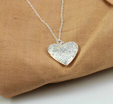925 Sterling Silver Filled Necklace with Heart Locket Pendant in a Gift box