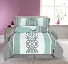 Luxurious 7pcs Embroided King Comforter Set Mint Grey White SUPER KING