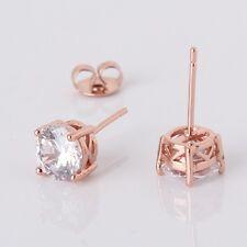 Anniversity 18k rose gold filled white sapphire women wedding stud earring