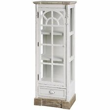 Country Rustic Vintage Shabby Chic Wall Glass Display Cabinet Antique 13421