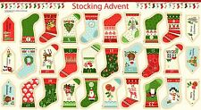 Christmas Stocking Bunting Advent 100% Cotton Quilting Fabric Panel