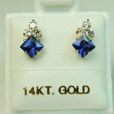4x4mm princess cut 14k solid y/gold Blue Sapphire Small screw back stud earrings