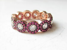 NEW Rose Gold Plated 925 Sterling Silver Turkish Handmade Ruby Flower Ring Sz 6