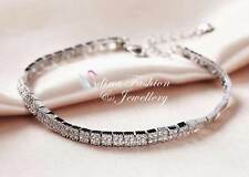 18K White Gold Filled Simulated Diamond Elegant Silver Tennis Bracelet Jewellery