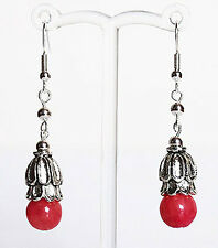 Silver and Semi-Precious Dyed Jade Drop Earrings - Red