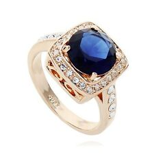 STUNNING LARGE 18K GOLD PLATED SAPPHIRE BLUE SWAROVSKI CRYSTAL AND CZ RING
