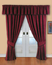"66"" x 54"" BARCELONA BURGUNDY READY MADE FULLY LINED CURTAINS LUXURY JACQUARD"