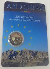 Andorra 2 € Euro GM 2014 BU im Blister, 20 Jahre im Europarat, Erstausgabe