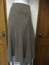 Ladies Lovely Suedette Skirt 10 Casual Club Beige Taupe