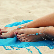 Boho Foot Chain Anklet Tassel Turquoise Stone Sandal Barefoot Ankle Jewelry