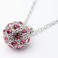 Pink Austrian Crystal Sphere Pendant Necklace Rhodium GP Plated From UK Box