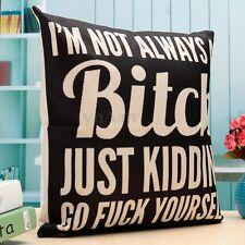 Retro Bitch Cotton Linen Pillow Case Sofa Waist Throw Cushion Cover Home Decor