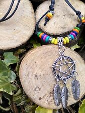Black Cord*Pentagram*Hippy* Feather*Dream catcher* Wood Beads*necklace*choker*