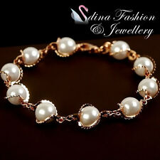 18K Rose Gold Plated Simulated Pearl Elegant Twisted Band Bracelet Jewellery