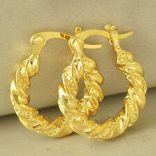 Vintage Style Fashion Womens Jewelry 24K Gold Filled Twisted Hoop Earrings