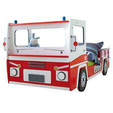 Kinderbett Feuerwehrbett Autobett Feuerwehr SOS in rot und weiß mit Lattenrost