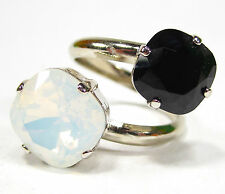 SoHo® Ring geschliffene Kristalle Stumpfeck quadrat white opal jet schwarz weiß