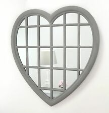 "Rossi Vintage Grey Shabby Chic Heart Window Wall Mirror 36"" x 34"" V Large"