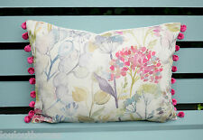 Handmade Voyage HEDGEROW linen 17 x 13 cushion pillow bolster COVER pompom pink
