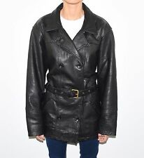 Black Leather VERO MODA Double Breasted Tie Waist Women's Coat Jacket Size XL