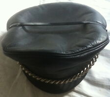 Retro Black Leather Muir Cap With Chain  - Gay Interest