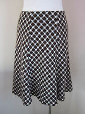 Hobbs. New. Size 8 brown wool A line check lined career skirt. knee length