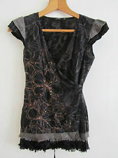 Black & Brown Cotton Floral / Sequins Vila Wrap Top in Size XS / 6