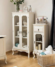 French Display Cabinet Shabby Chic Furniture White Glass Door Room Storage Unit