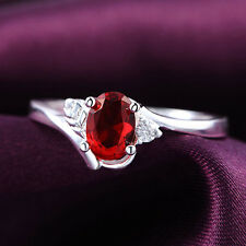 Hot New Popular Plated silver Red Crystal Rhinestone Jewelry Wedding Ring