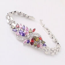 "18k white gold filled colorful marquise topaz lady chain bracelet 7.5"" 21.1g"