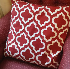 """18"""" x 18"""" Red White Geometric Arabesque Pattern Moroccan Tile Complete Cushion"""