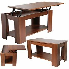 BROWN OAK WOODEN COFFEE TABLE LIFT UP TOP STORAGE SHELF MODERN LIVING ROOM UNIT