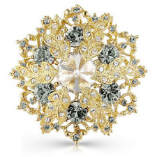 18K Gold Tone Brooch Pin With Black Diamond Swarovski Element Crystals Snowflake