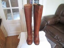 Office Brown Leather Knee High with Thread Tassel Size UK 5