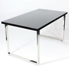 Charles Jacobs Office Desk with Chrome Platform & High Gloss Black Table Top NEW