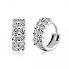 18K Gold GP SWAROVSKI Element Crystal Lab Diamond Huggie Hoop Stud Earrings
