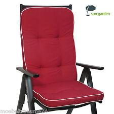 Hochlehner Gartenstuhl Sessel hoch Auflagen Polster Kissen rot weiß Gartenmoebel