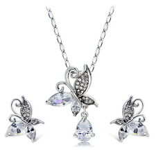 Butterfly Pendant Necklace&Earring Wedding Jewellery Sets 18K White Gold Plated